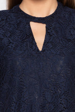 Load image into Gallery viewer, Navy Blue Keyhole Neck Lace Top-5