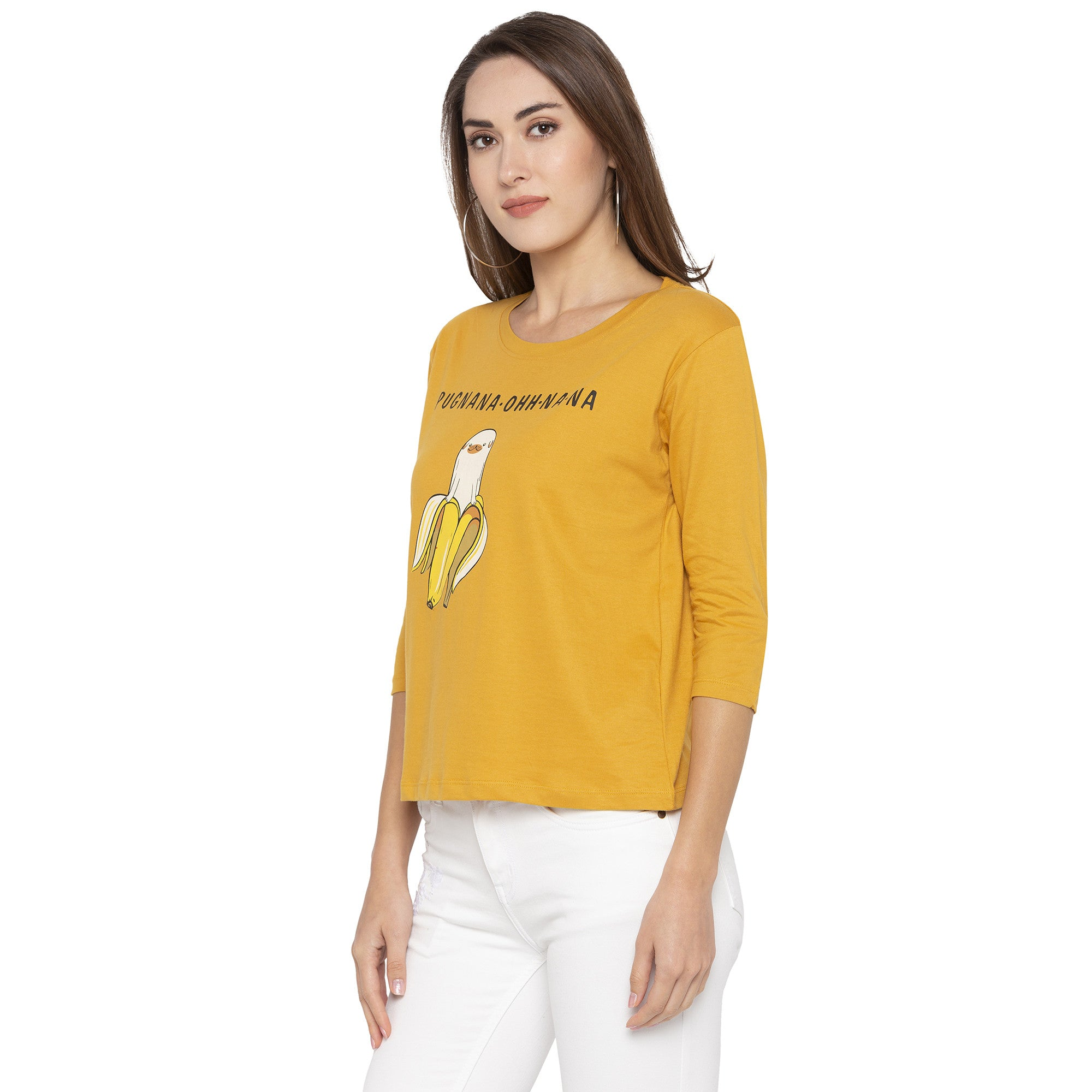 Casual Mustard Color Printed Regular Fit Tshirts-2