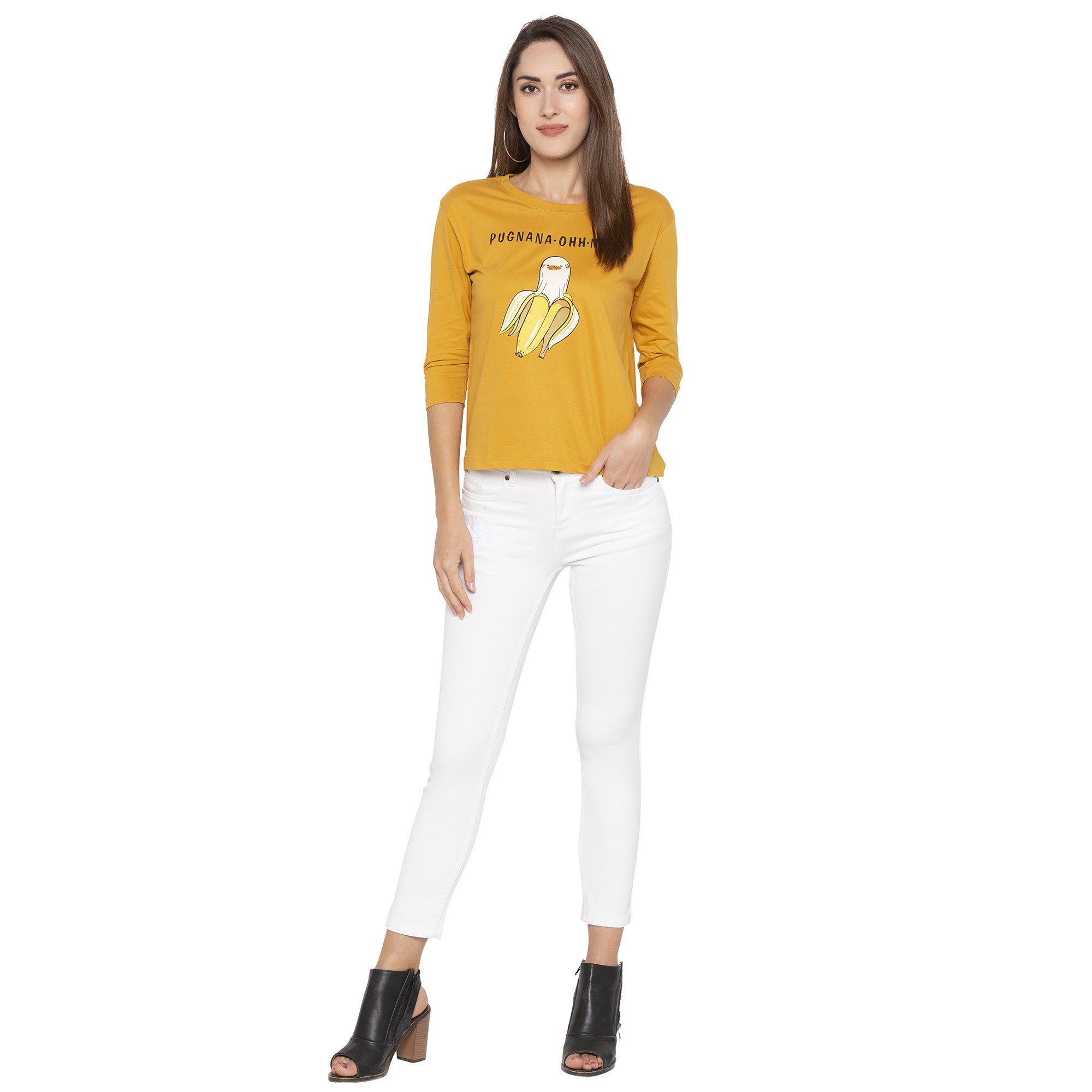 Casual Mustard Color Printed Regular Fit Tshirts-4