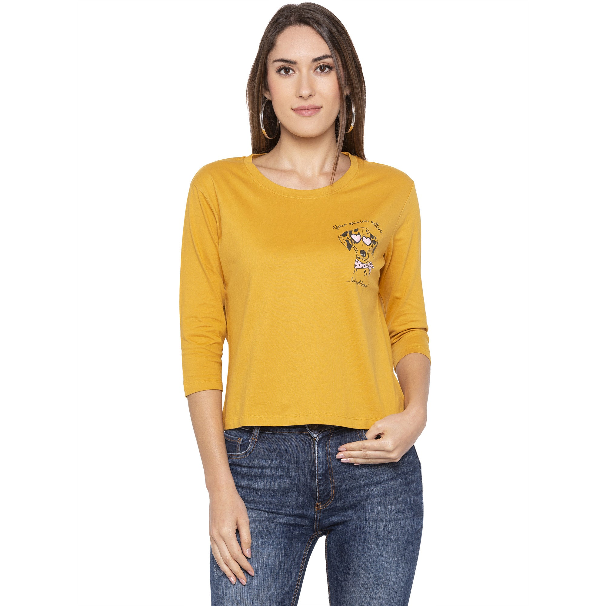Casual Mustard Color Printed Regular Fit Tshirts-1