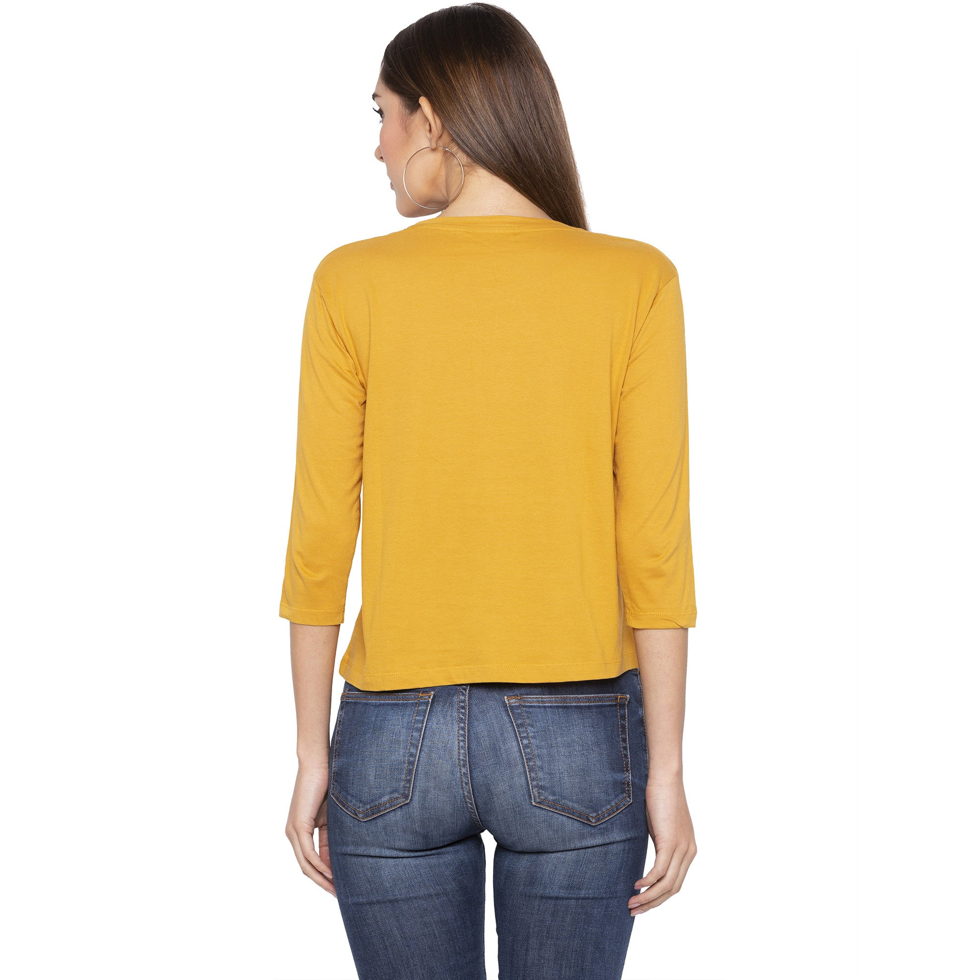 Casual Mustard Color Printed Regular Fit Tshirts-3