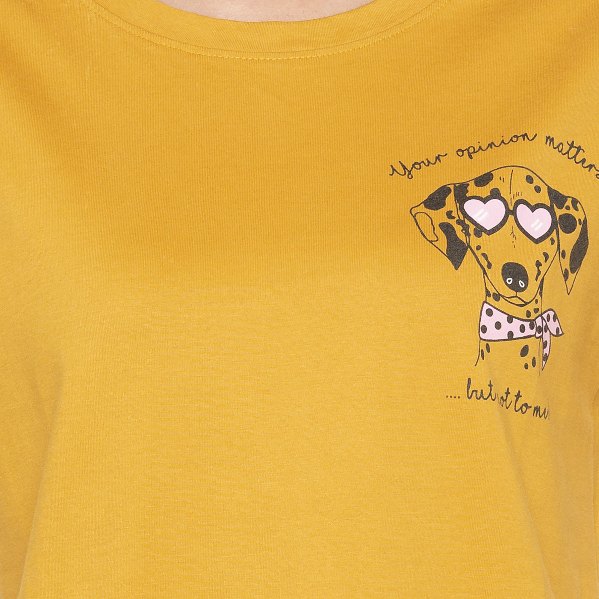 Casual Mustard Color Printed Regular Fit Tshirts-5