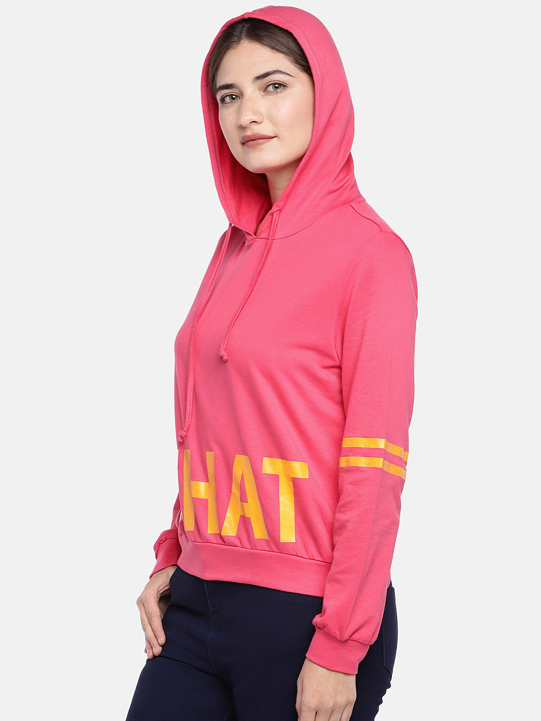 Pink Printed Hooded T-shirt-2