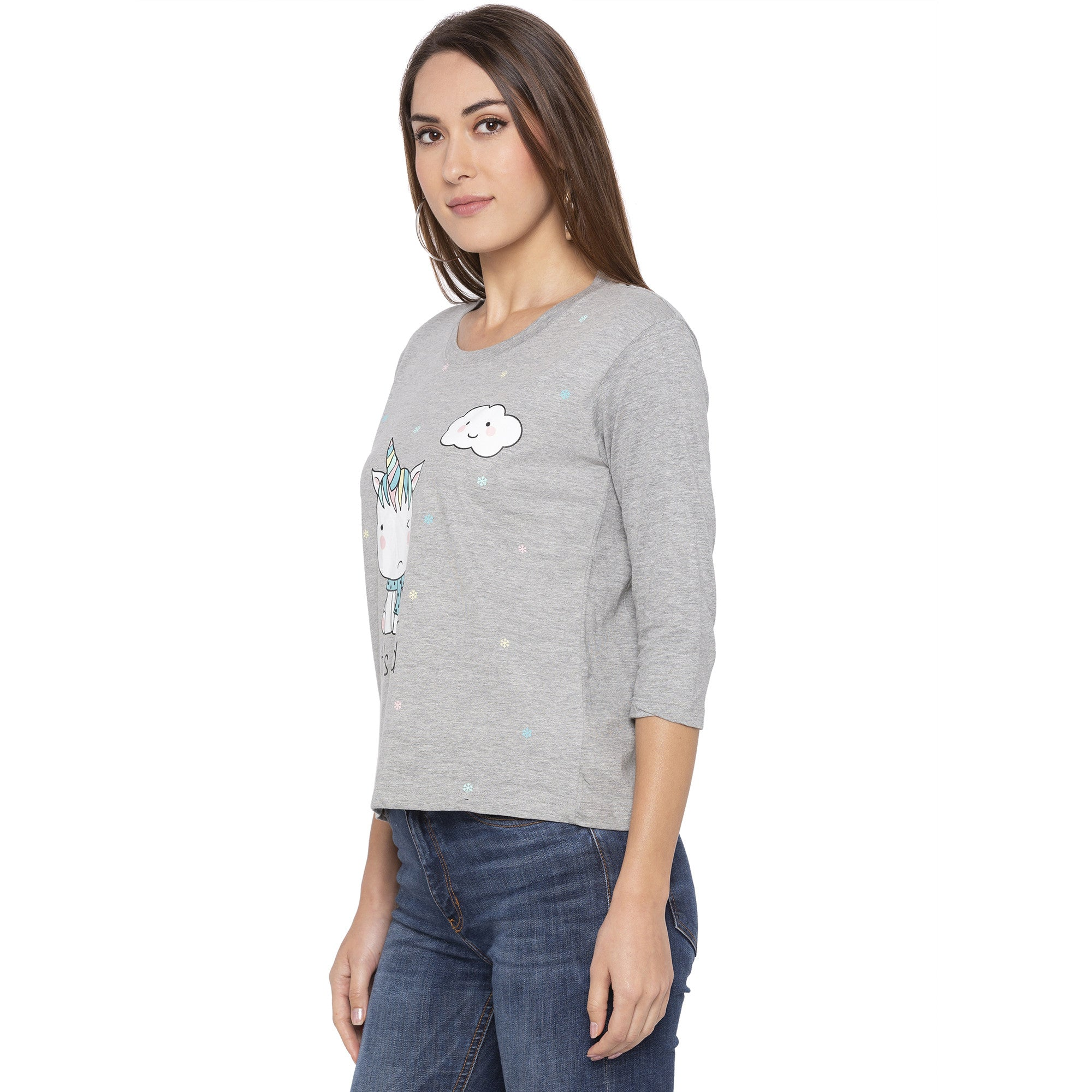 Casual Grey Color Checked Regular Fit Tshirts-2