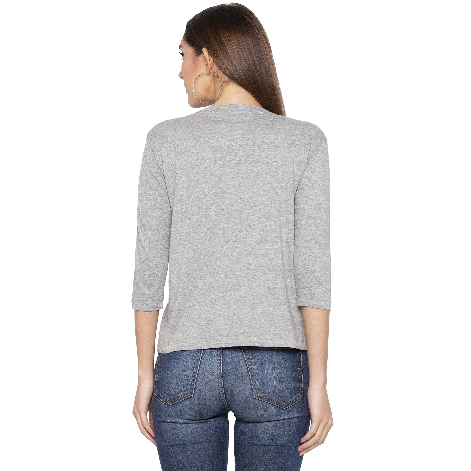 Casual Grey Color Checked Regular Fit Tshirts-3
