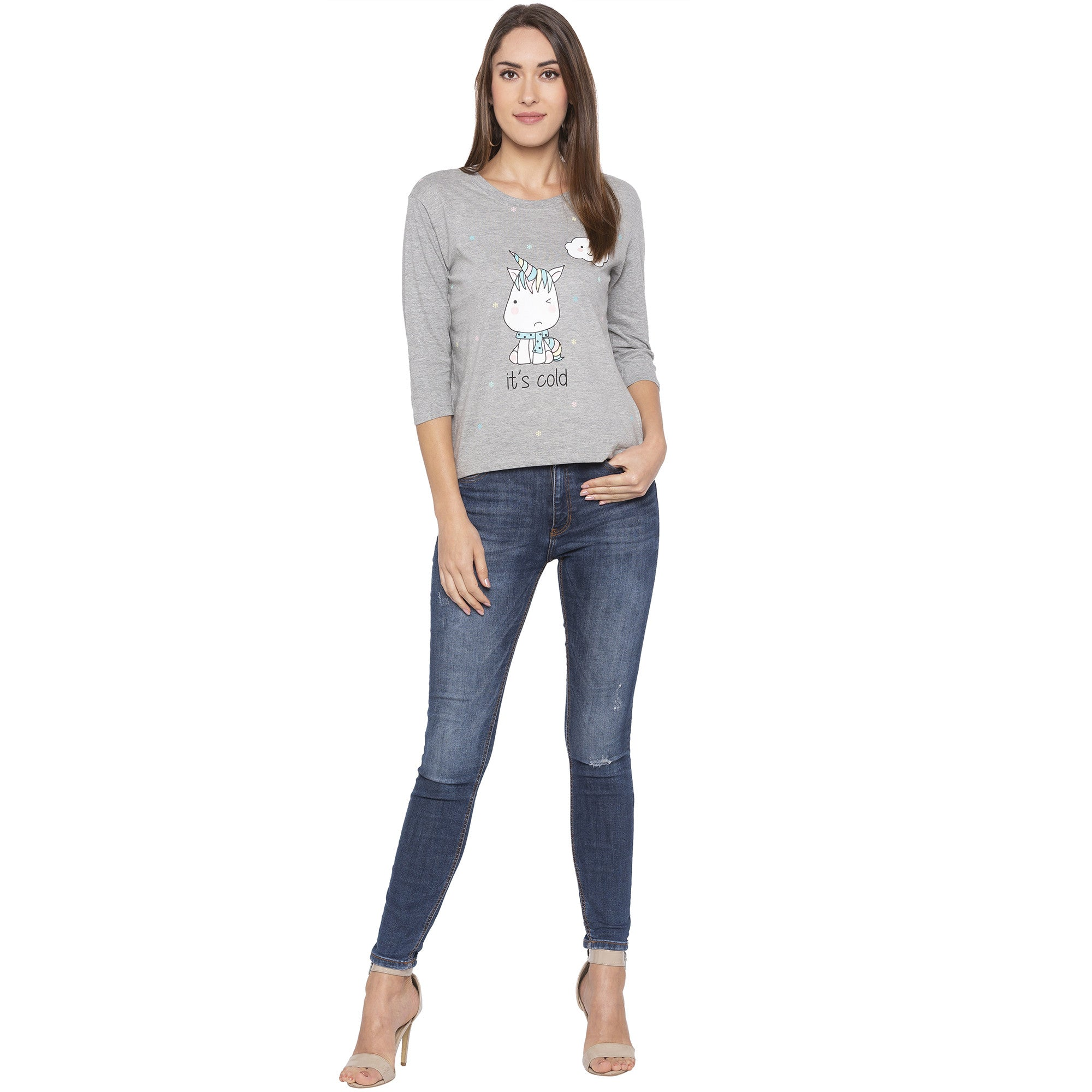 Casual Grey Color Checked Regular Fit Tshirts-4