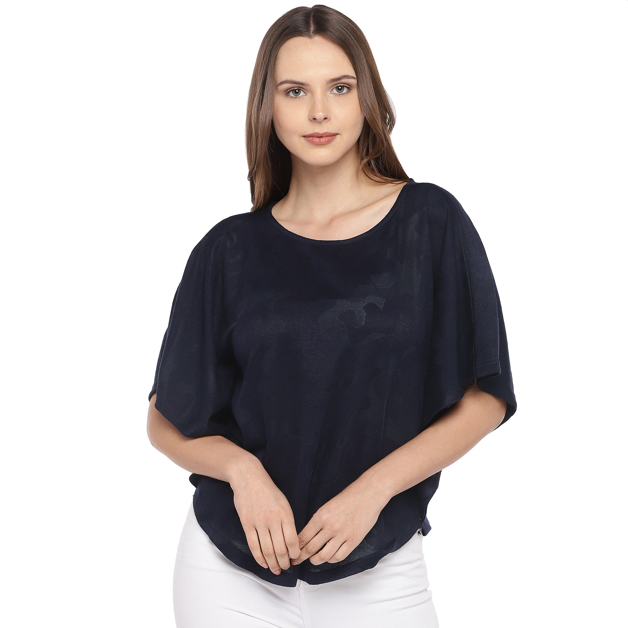 Navy Blue Solid Top-1