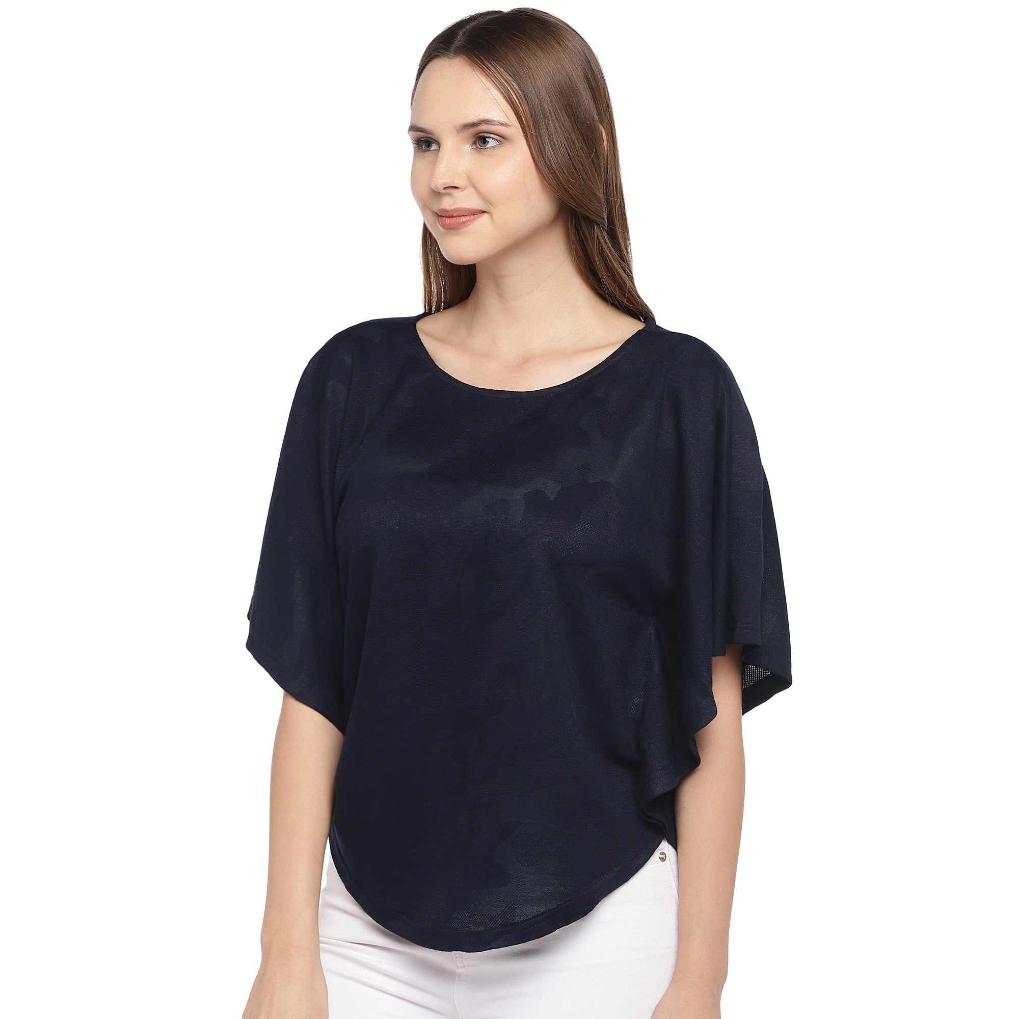 Navy Blue Solid Top-2