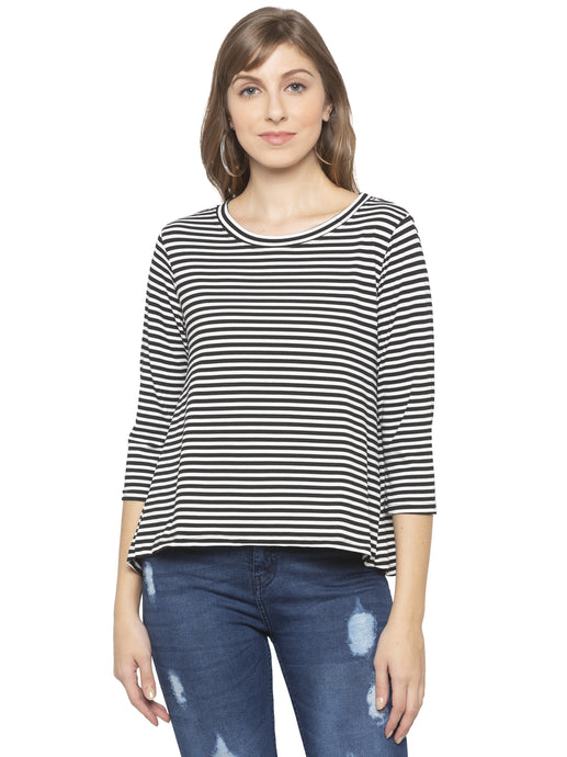 Navy White Striped Top-1