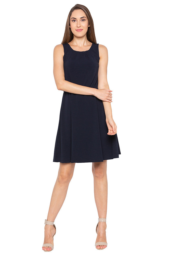 Navy Blue Sleeveless Solid Dress-1
