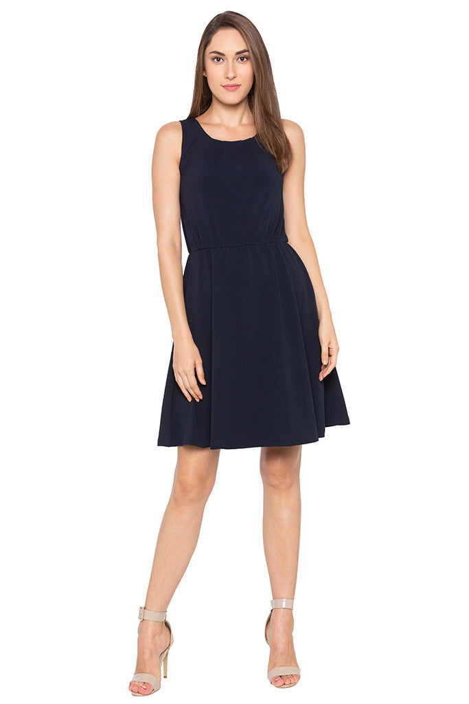 Navy Blue Sleeveless Solid Dress-2