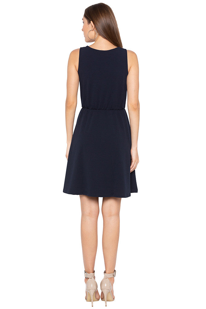 Navy Blue Sleeveless Solid Dress-3