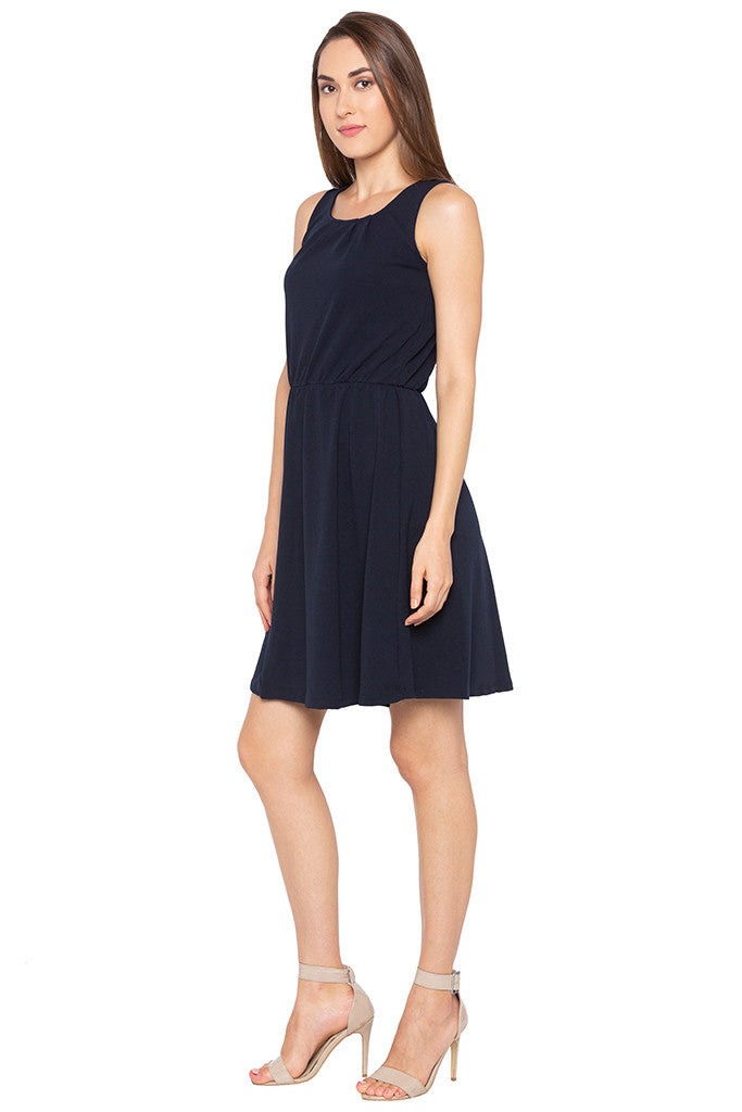 Navy Blue Sleeveless Solid Dress-4