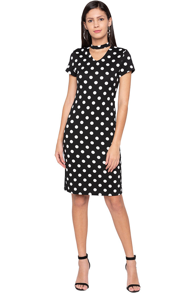 Polka Dot Bodycon Black Dress-1