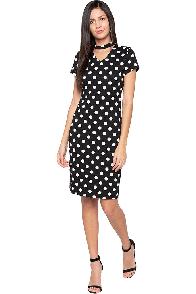 Polka Dot Bodycon Black Dress-2