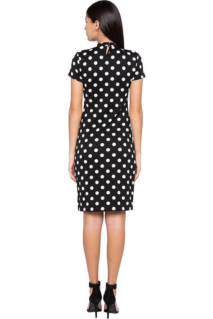 Polka Dot Bodycon Black Dress-3