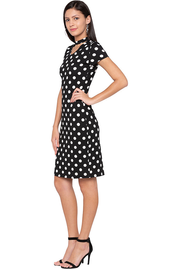 Polka Dot Bodycon Black Dress-4