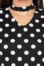 Load image into Gallery viewer, Polka Dot Bodycon Black Dress-5