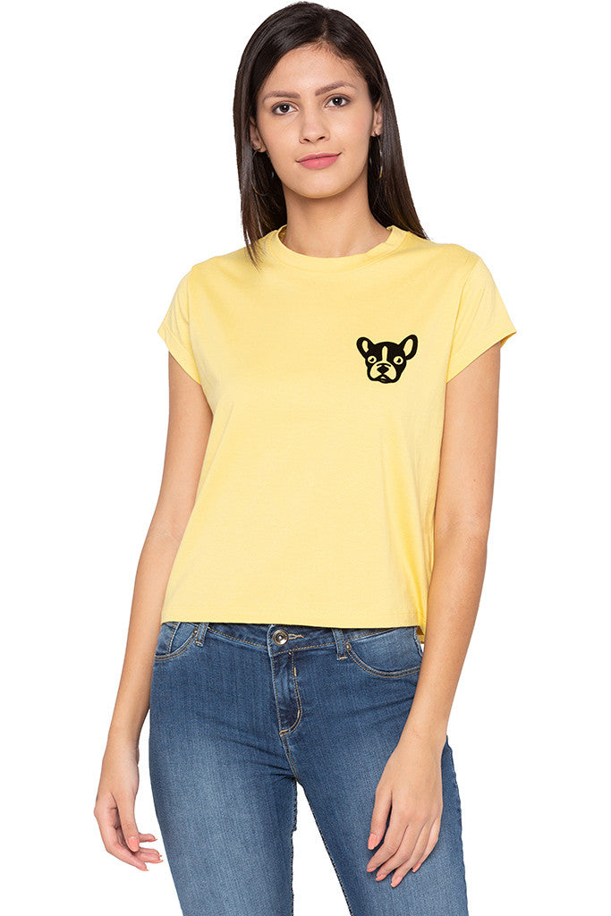 Dog Print Yellow T-shirt-1