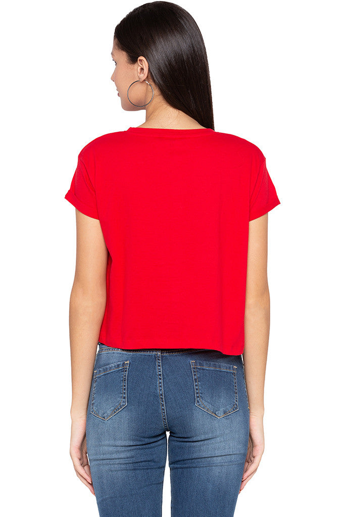 Badge Print Crop Red T-shirt-3
