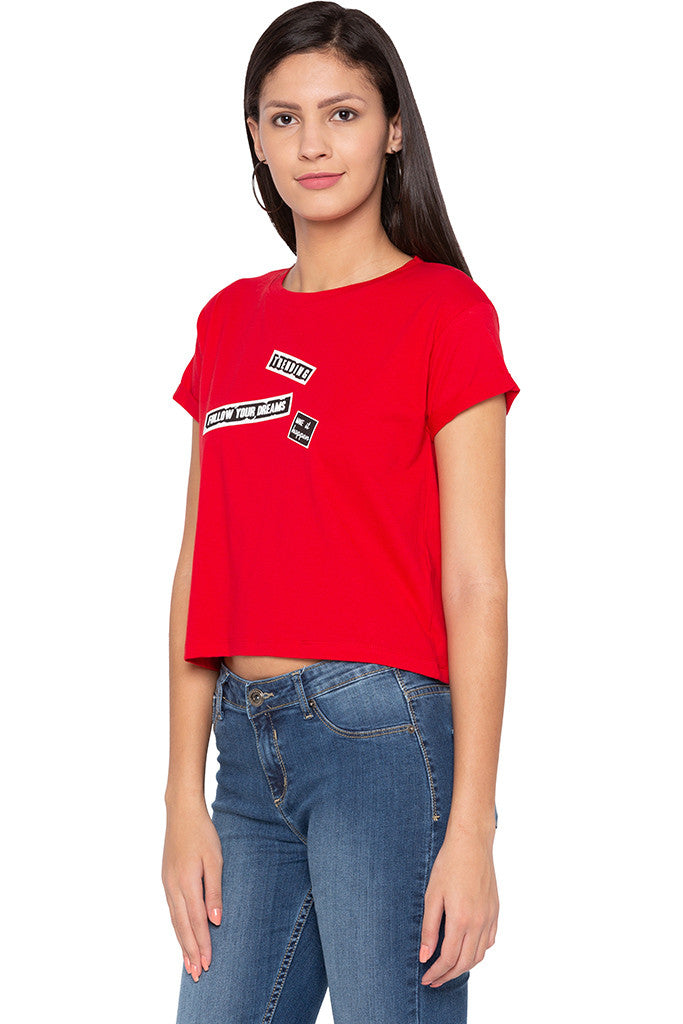 Badge Print Crop Red T-shirt-4