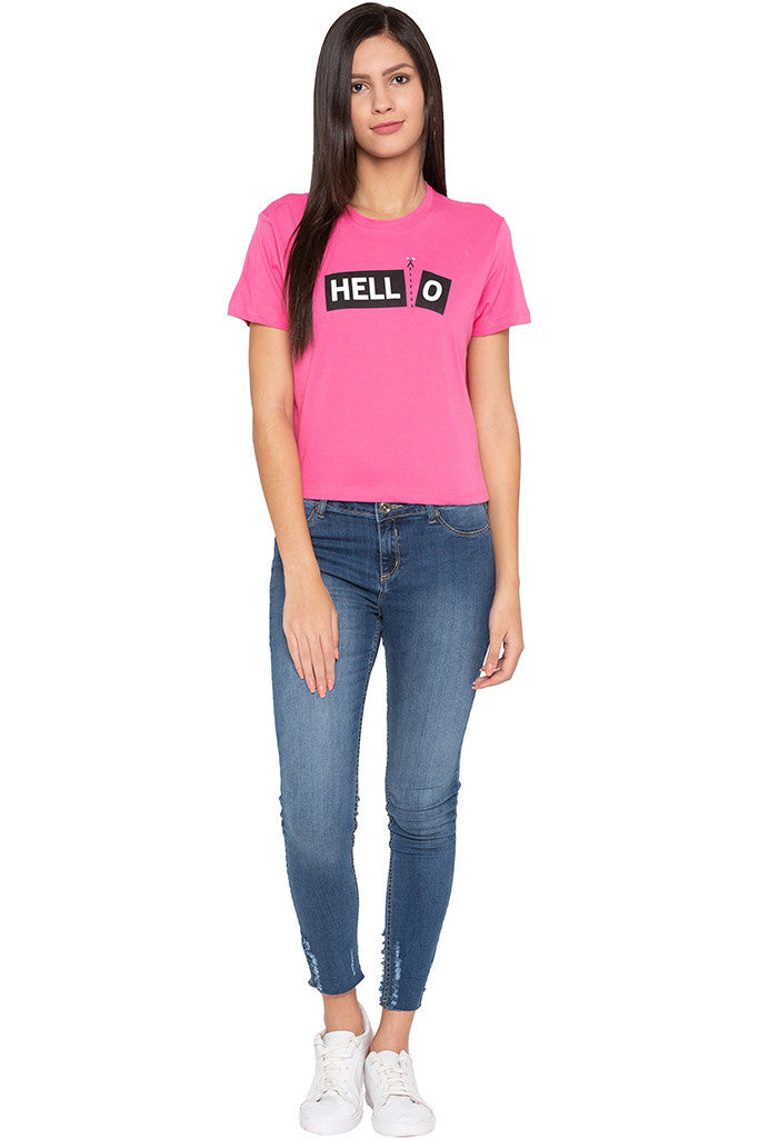 Typography Print Boxy Fit Pink Tee-2