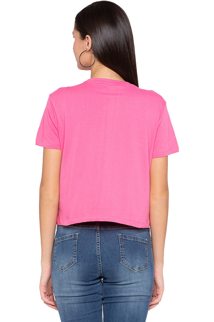 Typography Print Boxy Fit Pink Tee-3