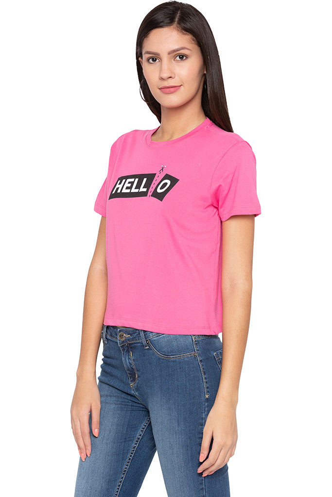 Typography Print Boxy Fit Pink Tee-4