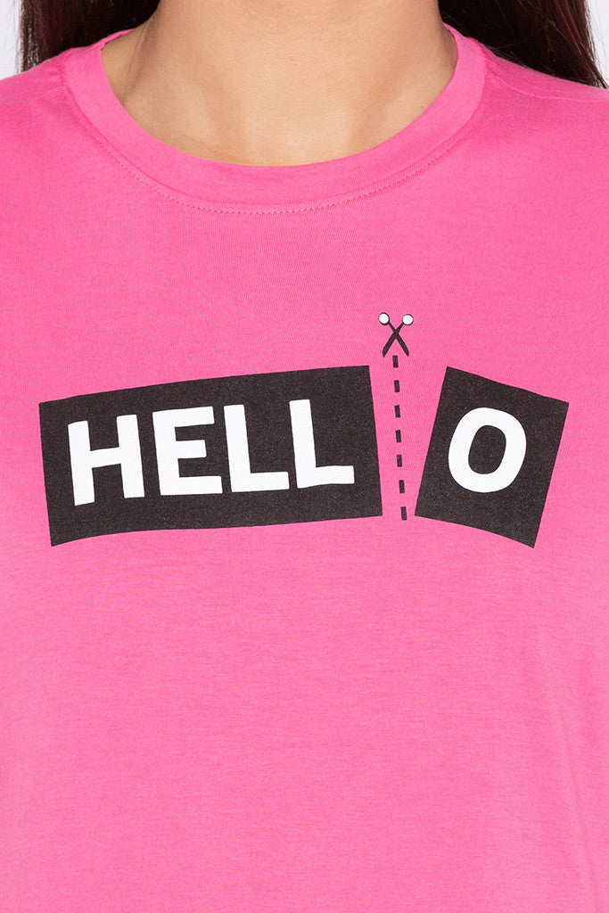 Typography Print Boxy Fit Pink Tee-5