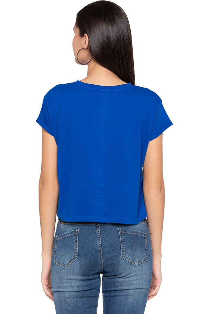 Printed Boxy Fit Blue T-shirt-3