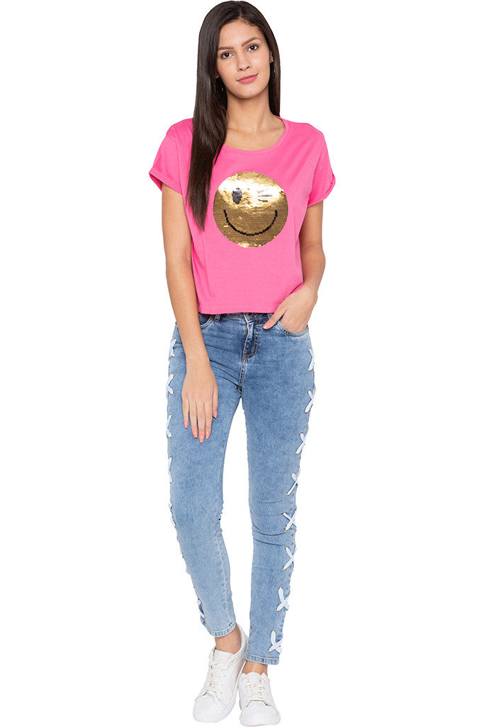 Sequined Boxy Fit Pink T-shirt-2