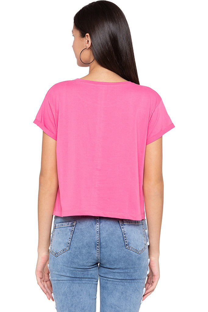 Sequined Boxy Fit Pink T-shirt-3