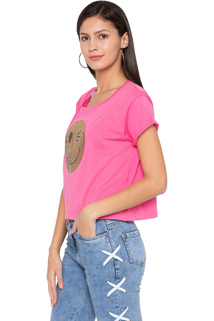 Sequined Boxy Fit Pink T-shirt-4