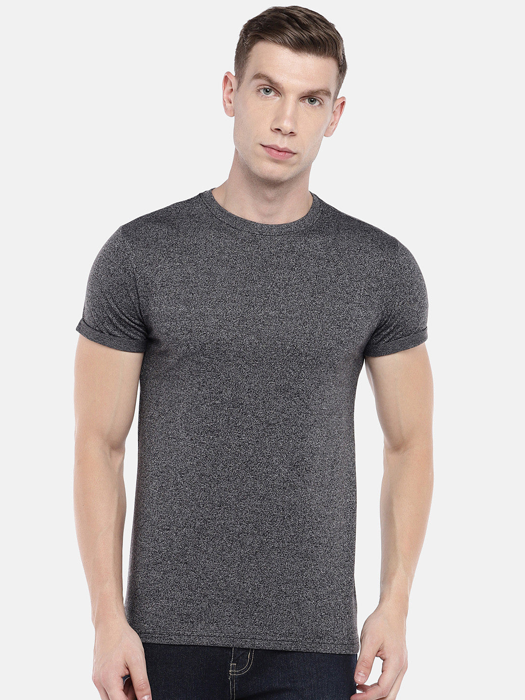 Grey Solid Round Neck T-shirt-1