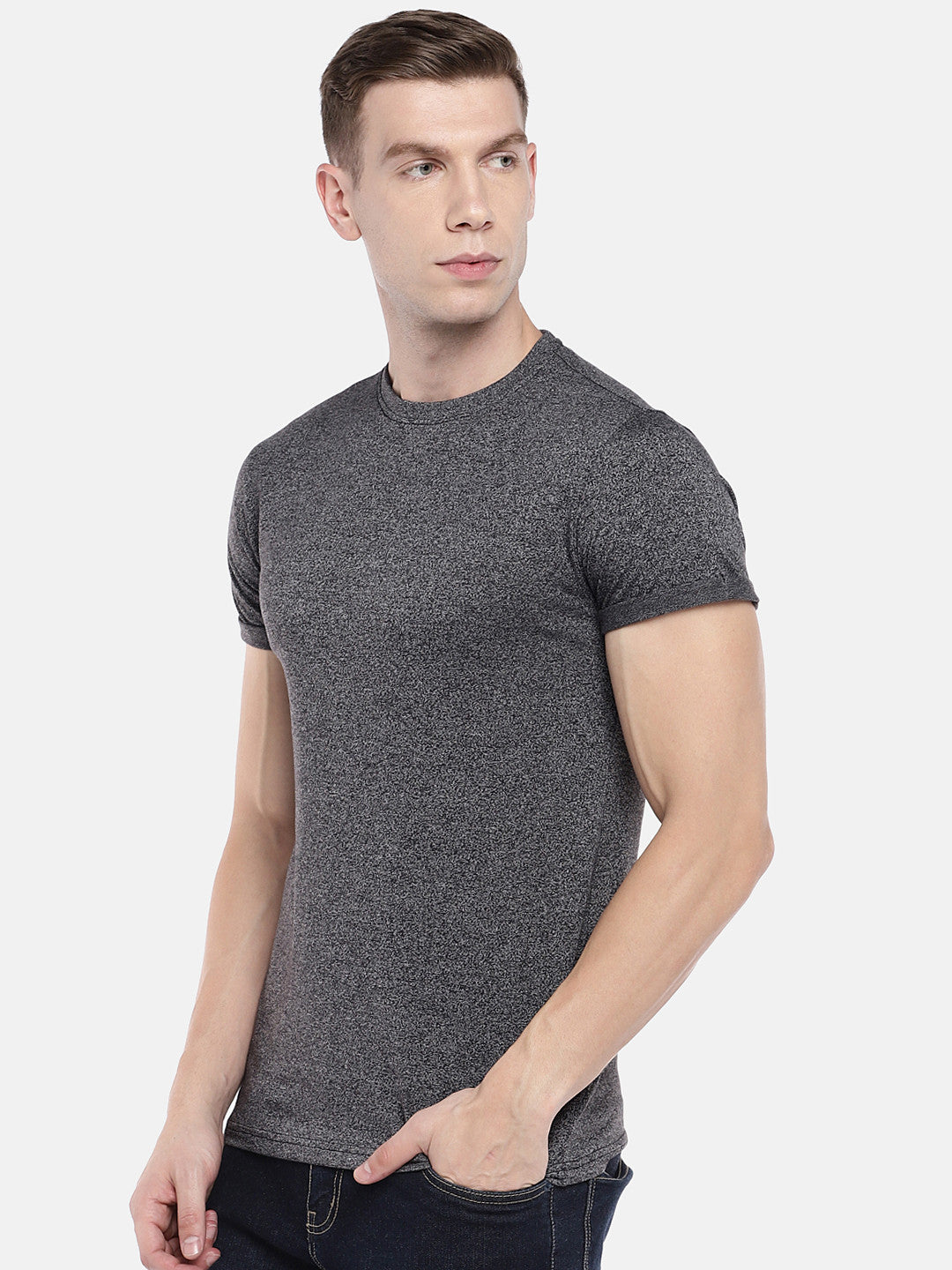 Grey Solid Round Neck T-shirt-2