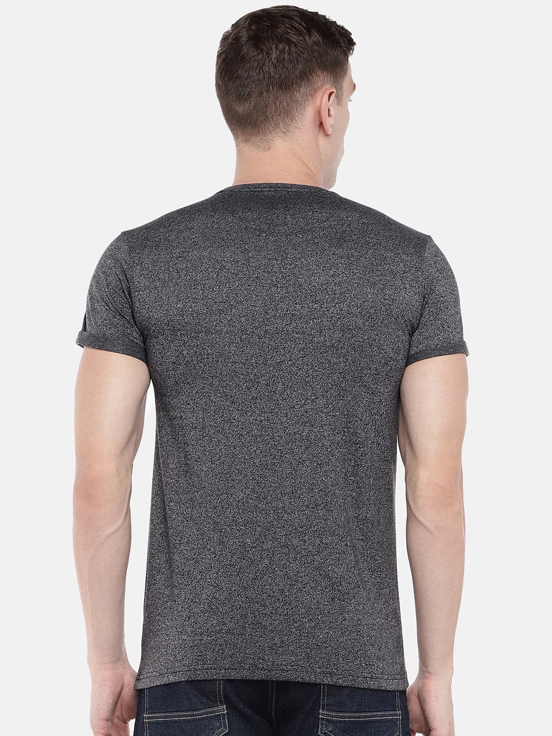 Grey Solid Round Neck T-shirt-3