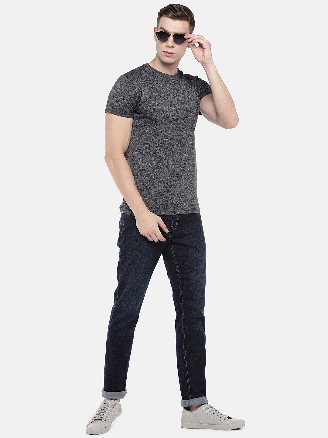 Grey Solid Round Neck T-shirt-4