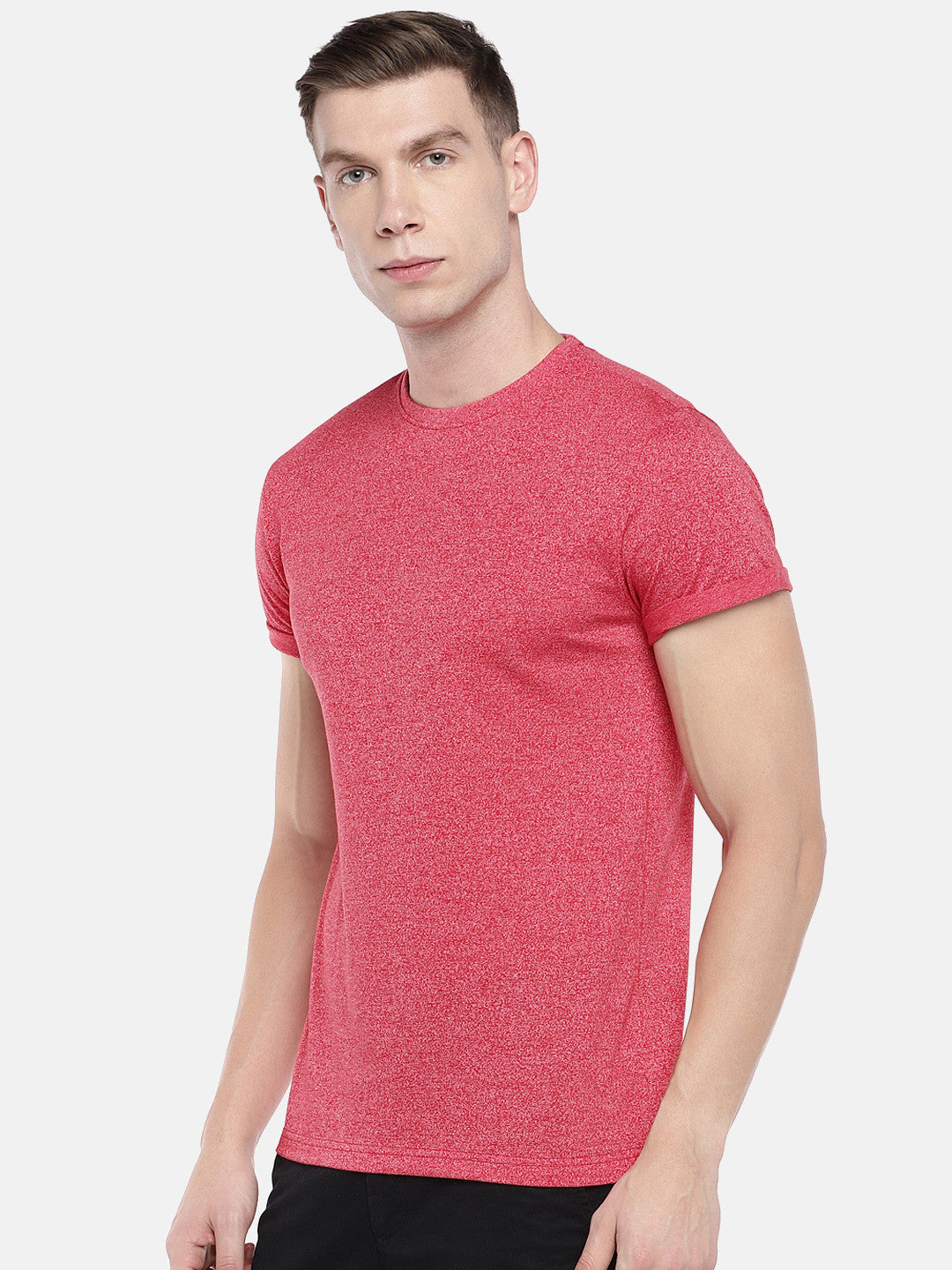 Red Solid Round Neck T-shirt-2
