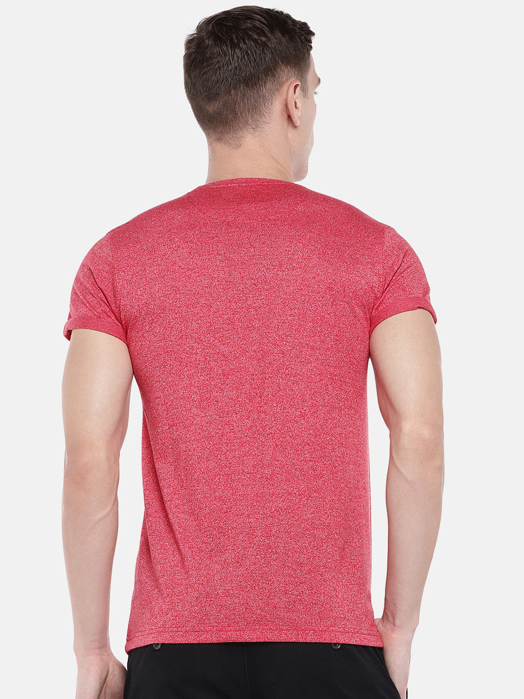 Red Solid Round Neck T-shirt-3