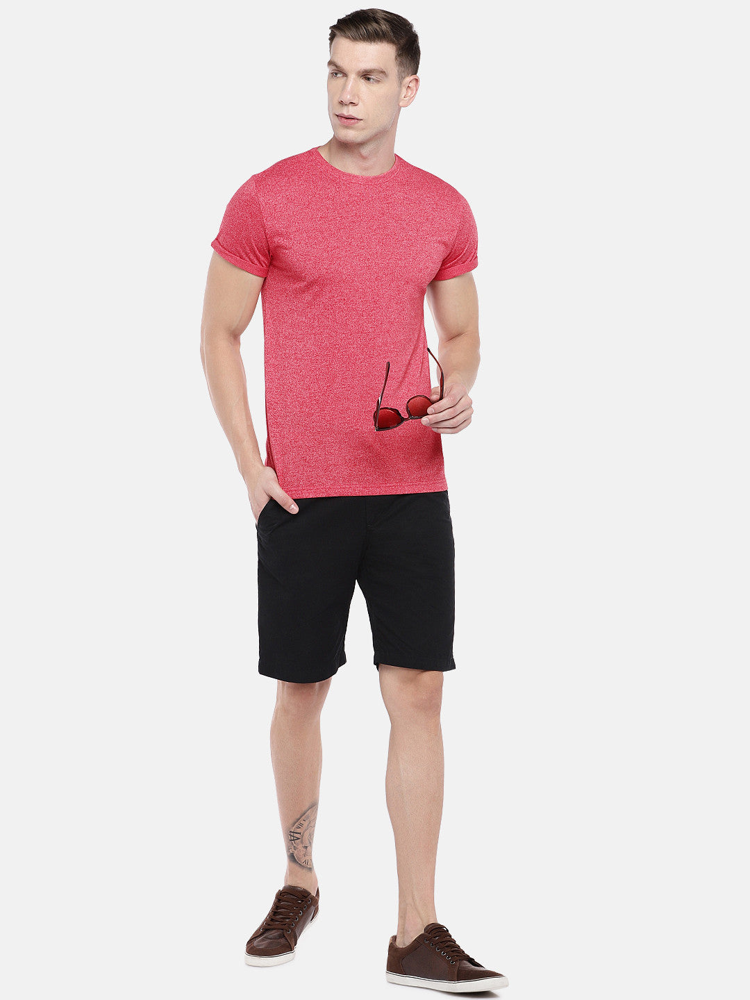 Red Solid Round Neck T-shirt-4