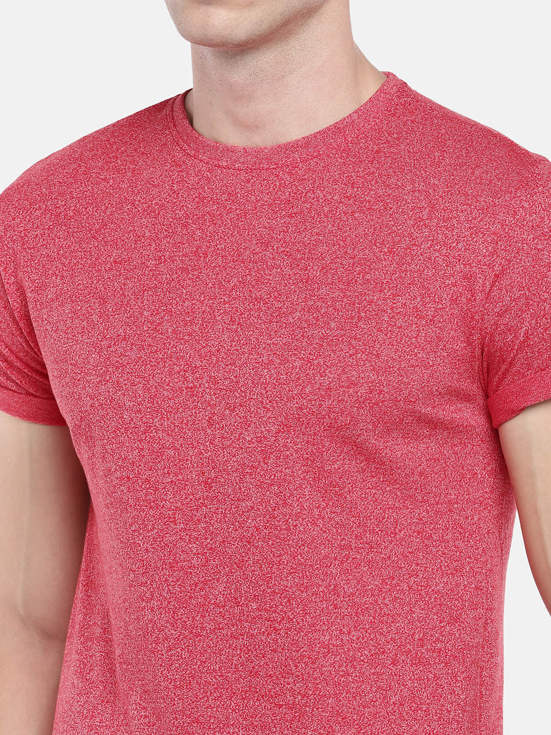 Red Solid Round Neck T-shirt-5