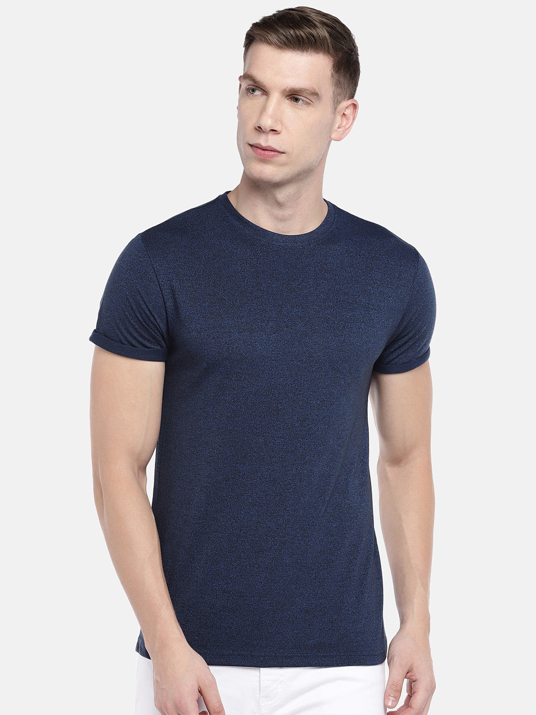 Navy Blue Solid Round Neck T-shirt-1