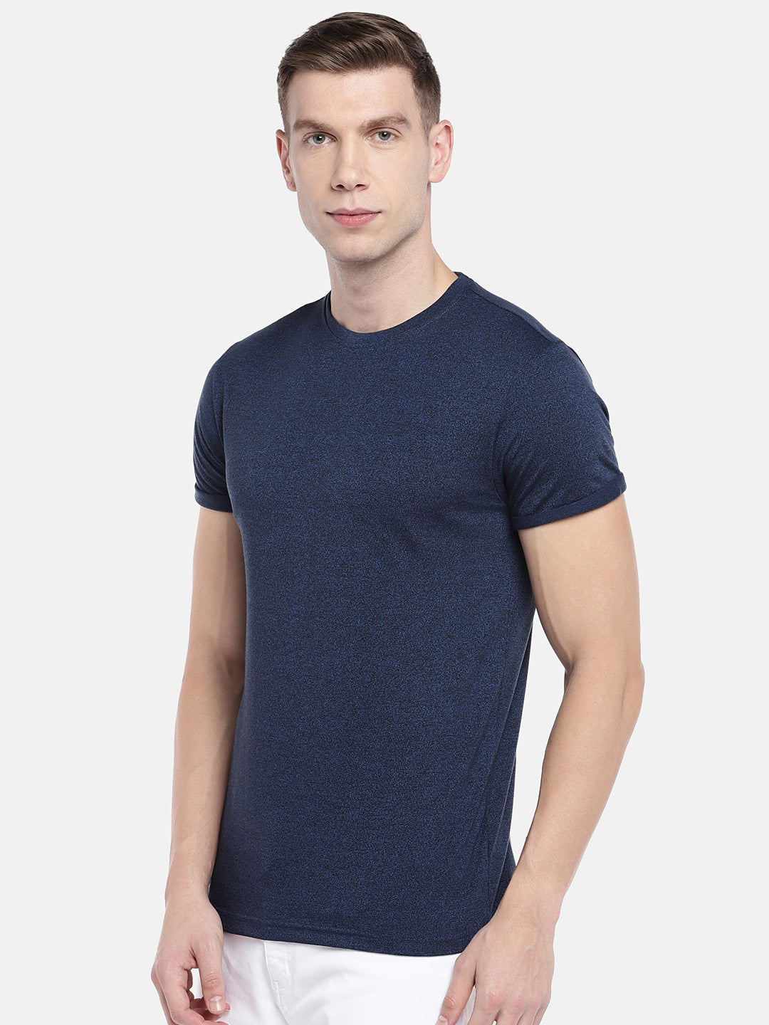 Navy Blue Solid Round Neck T-shirt-2