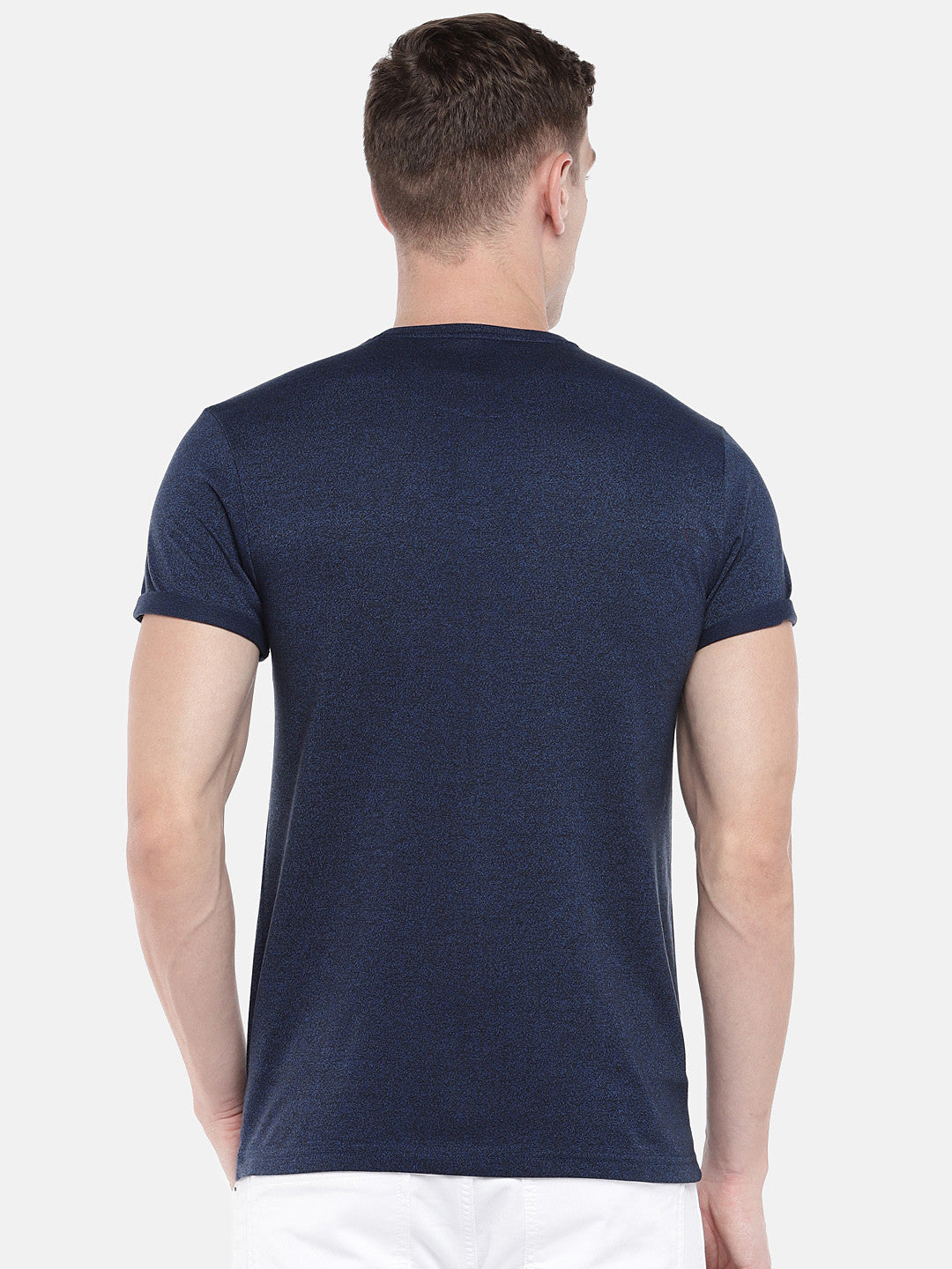 Navy Blue Solid Round Neck T-shirt-3