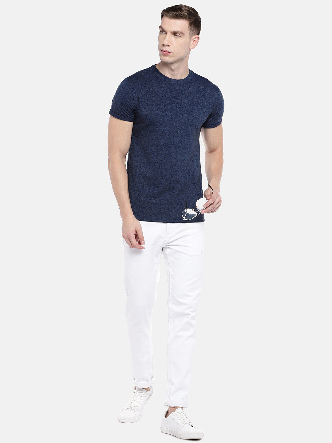 Navy Blue Solid Round Neck T-shirt-4