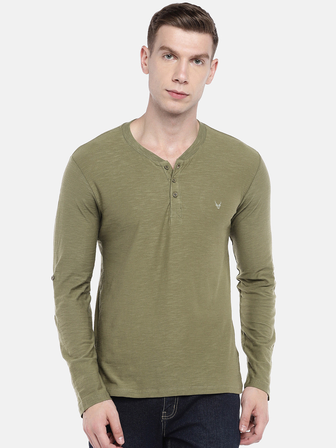 Green Solid Henley Neck T-shirt-1