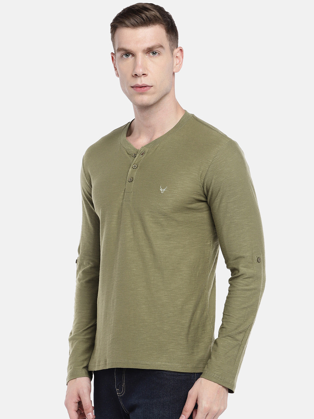Green Solid Henley Neck T-shirt-2
