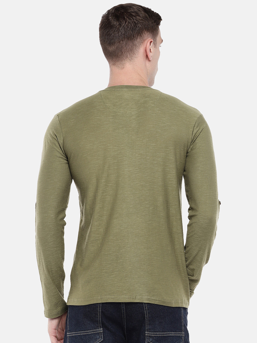 Green Solid Henley Neck T-shirt-3