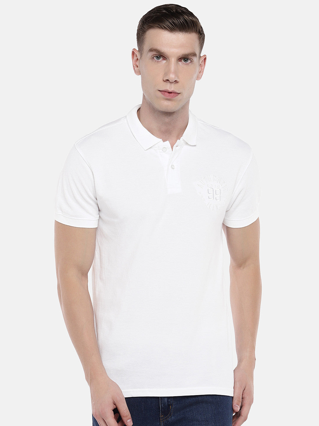 White Solid Polo Collar T-shirt-1