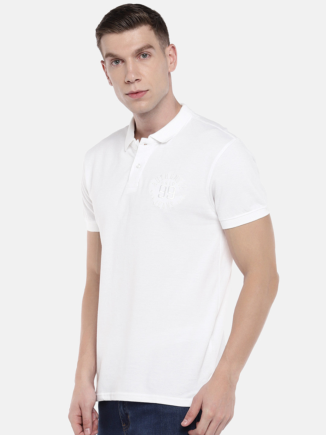 White Solid Polo Collar T-shirt-2